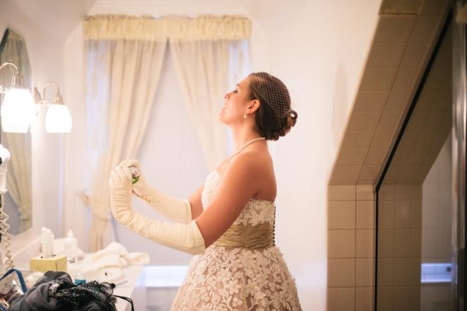 Bride sprays perfume