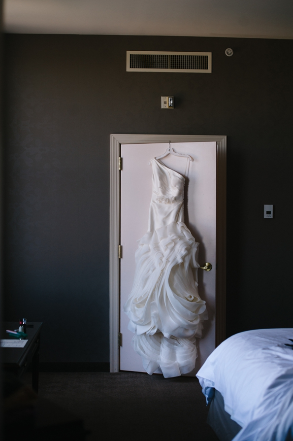 brides dress hangs in renaissance hotel pittsburgh