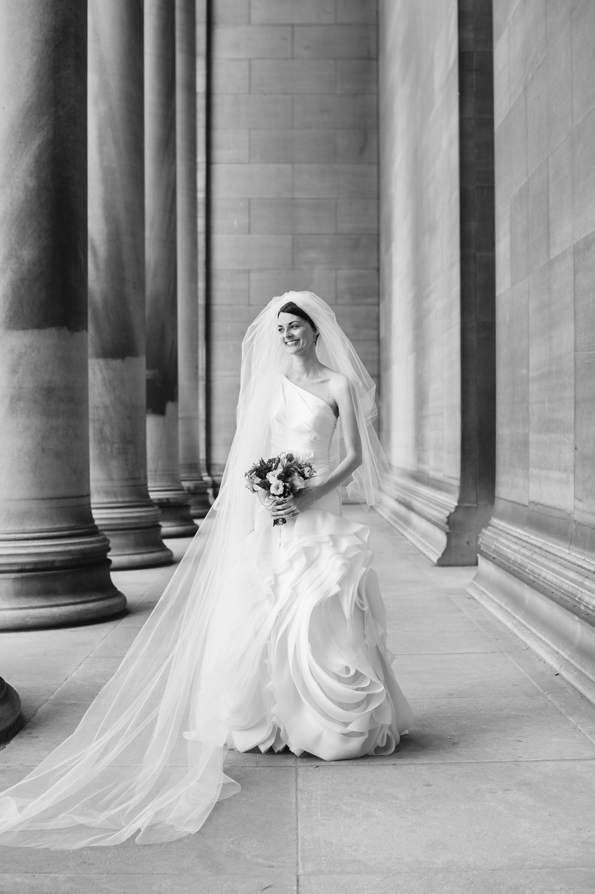 black and white artistic portrait of bride on wedding day
