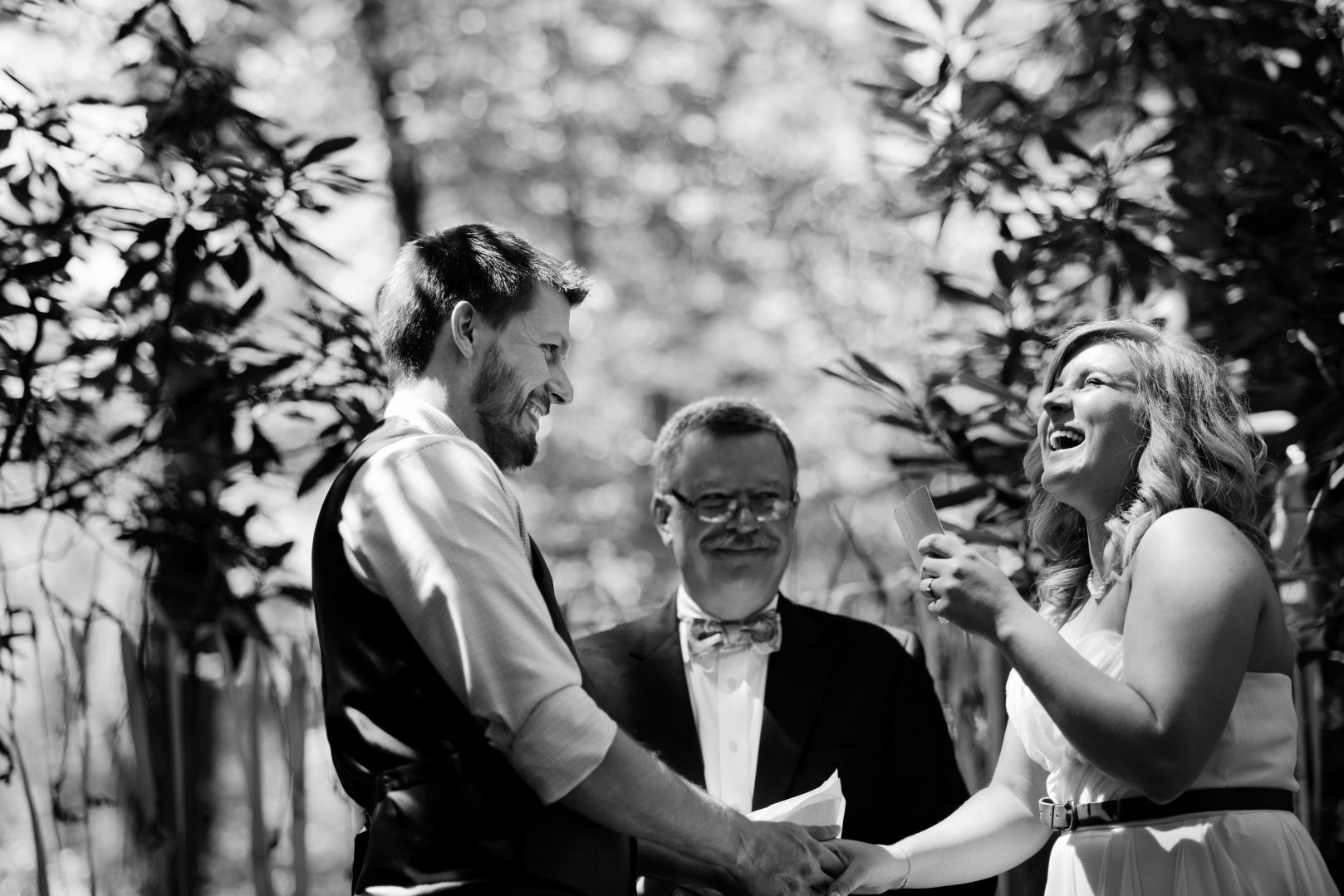 black and white outdoor wedding Cook Forest
