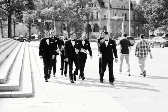 groomsmen in downtown pittsburgh