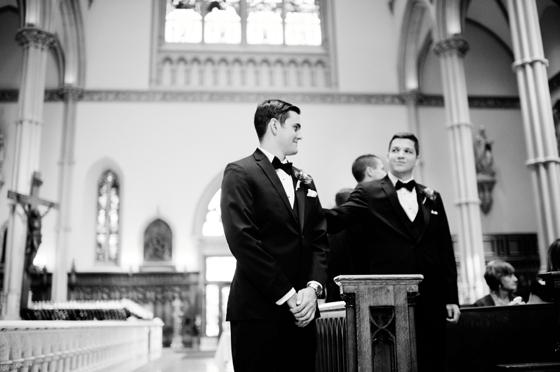 black and white wedding ceremony