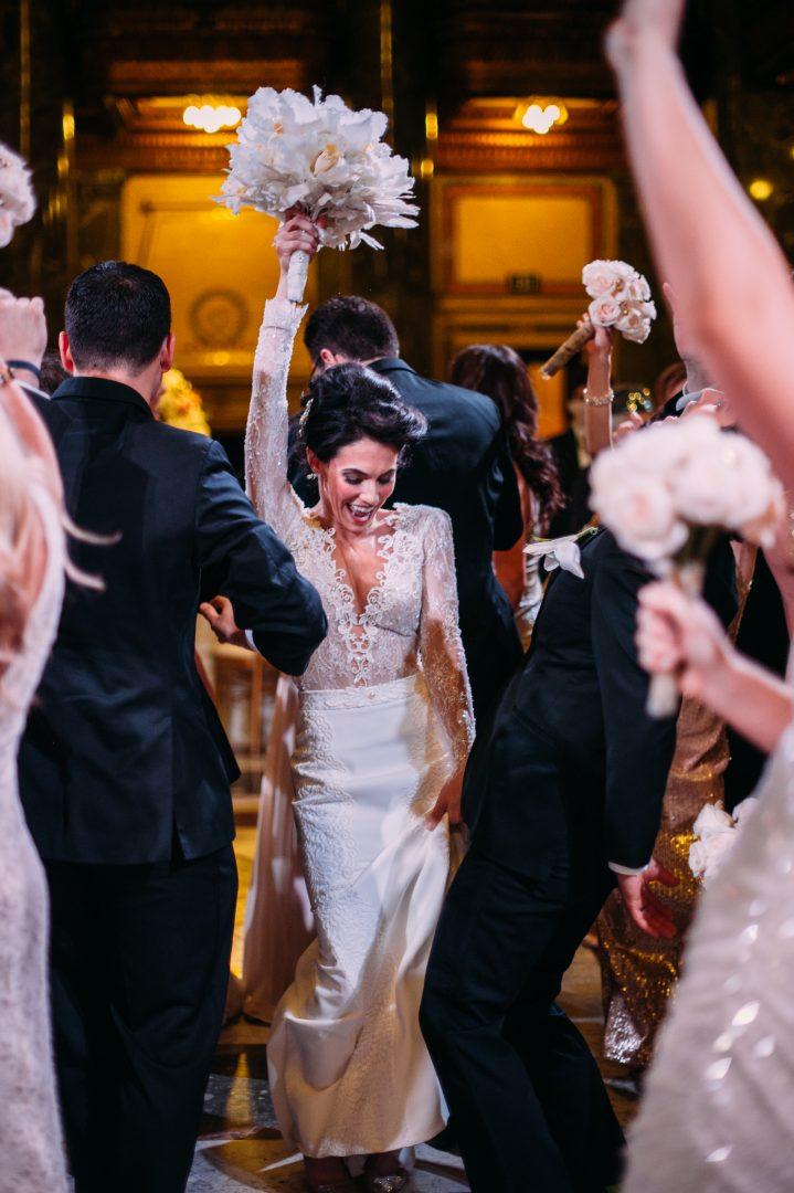 Elegant bride dances on dance floor