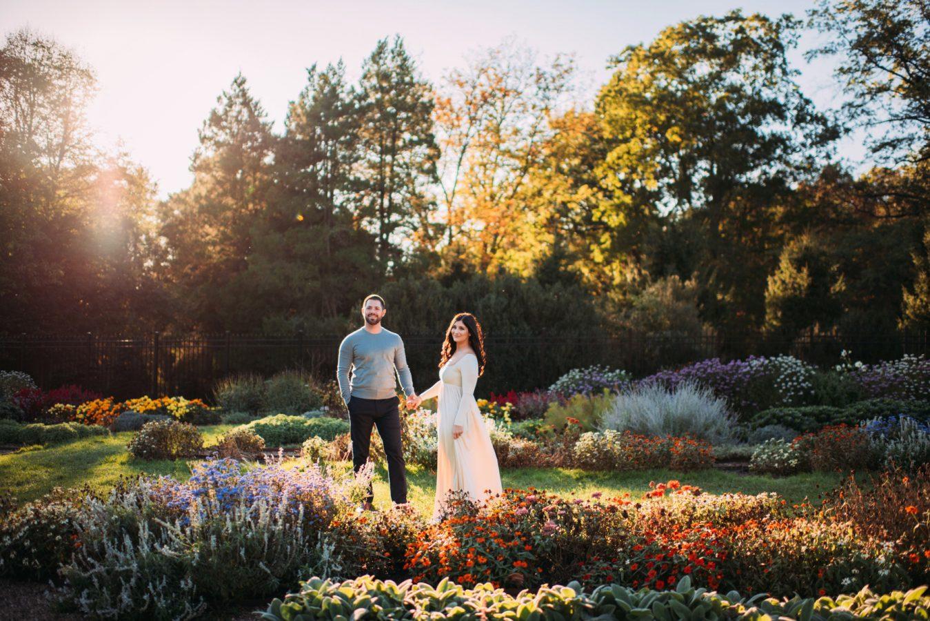 Golden Hour Garden Engagement Portraits