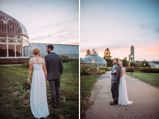 Sunset wedding portraits outside of Phipps Conservatory