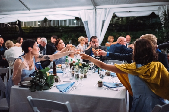 Evening outdoor wedding at Phipps Conservatory