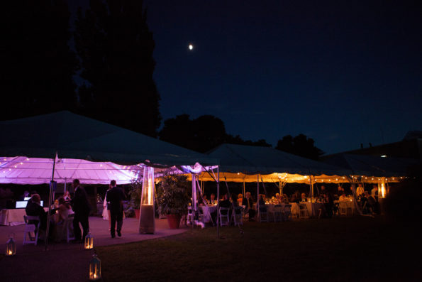 Evening outdoor wedding at Phipps Conservatory (photo by second photogrpapher, Abie Livesay)