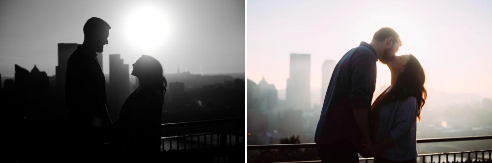 Pittsburgh skyline wedding portraits