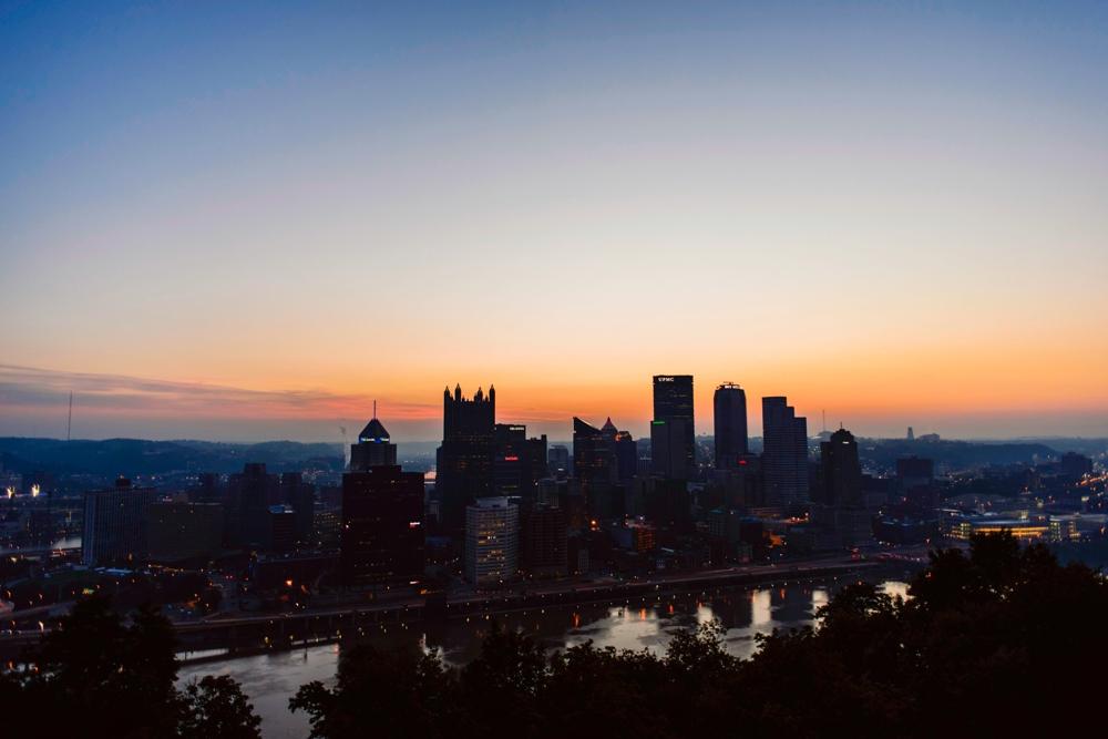 Pittsburgh skyline wedding photography