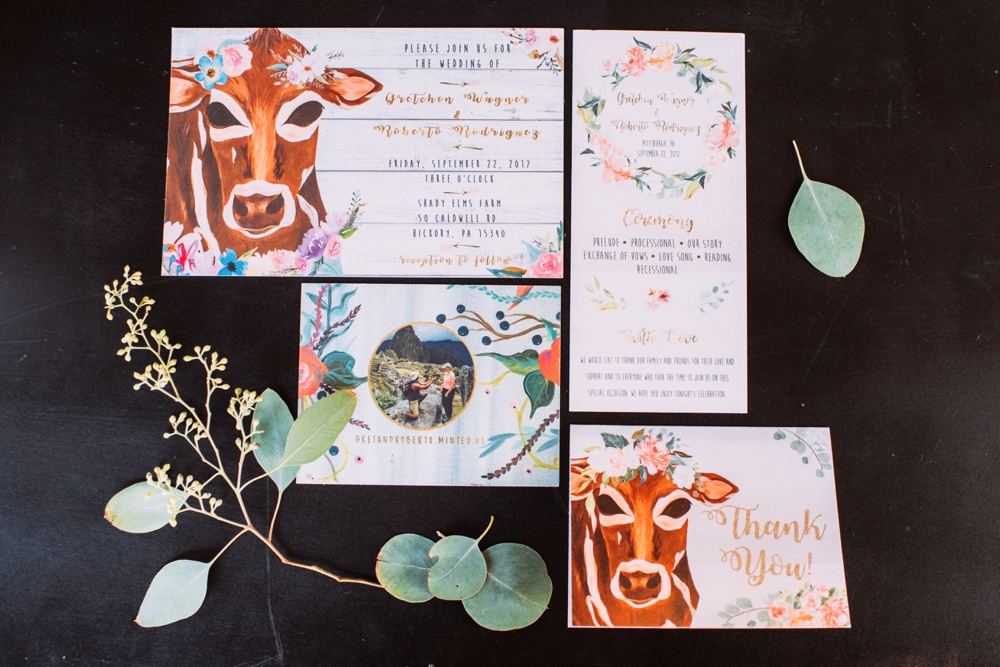 Cute cow stationary wedding invites