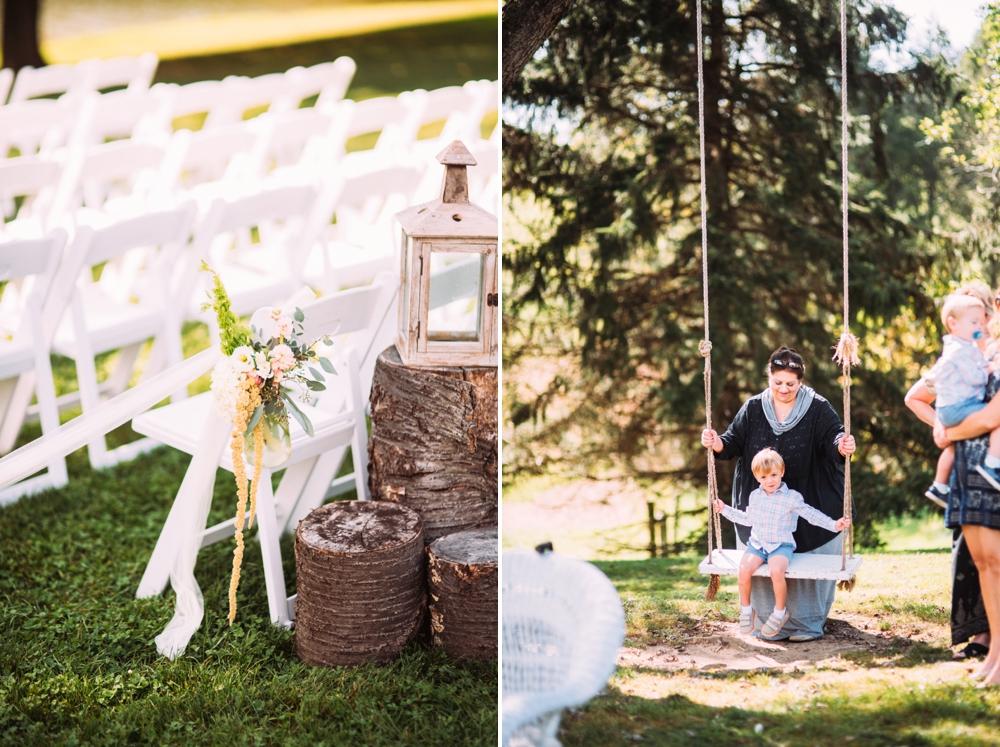wedding with swing on big tree