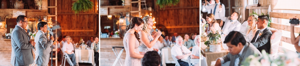 Bride and groom during toasts