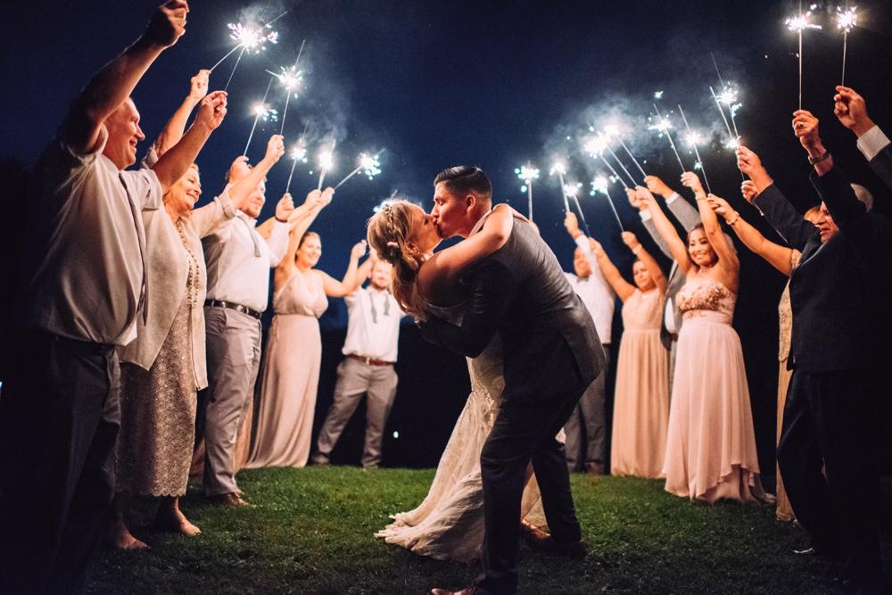 Sparkler send off at wedding
