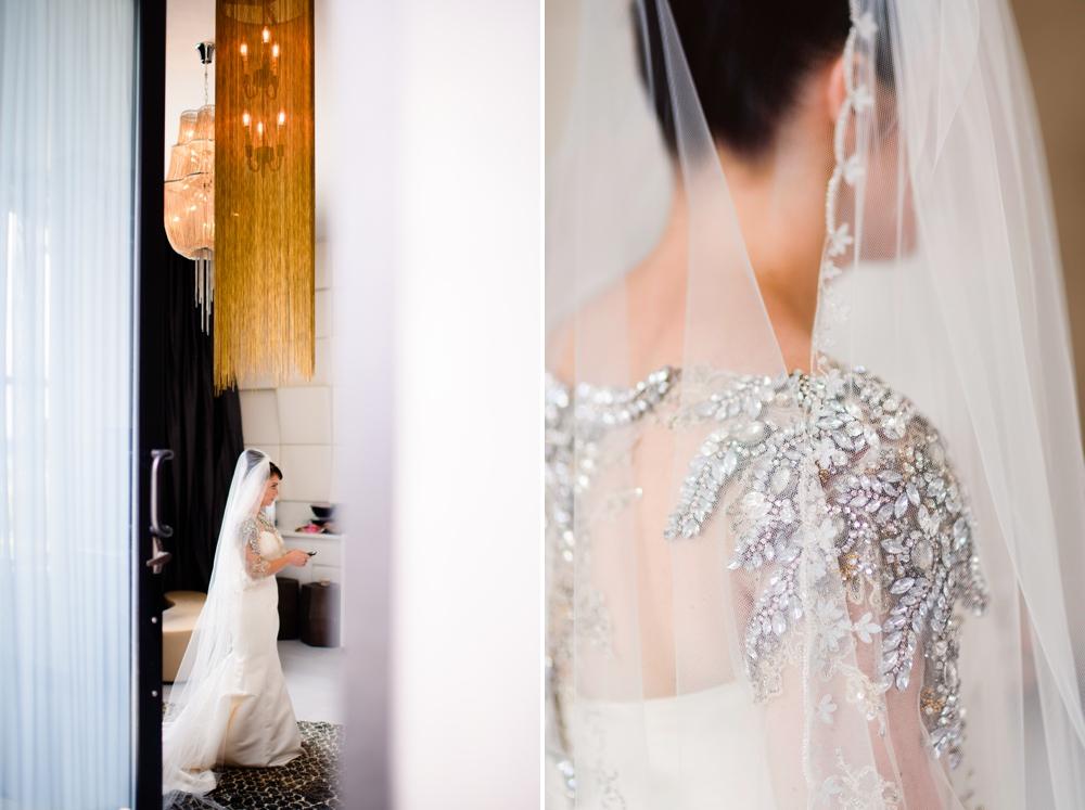 Intricate silver wedding dress beading