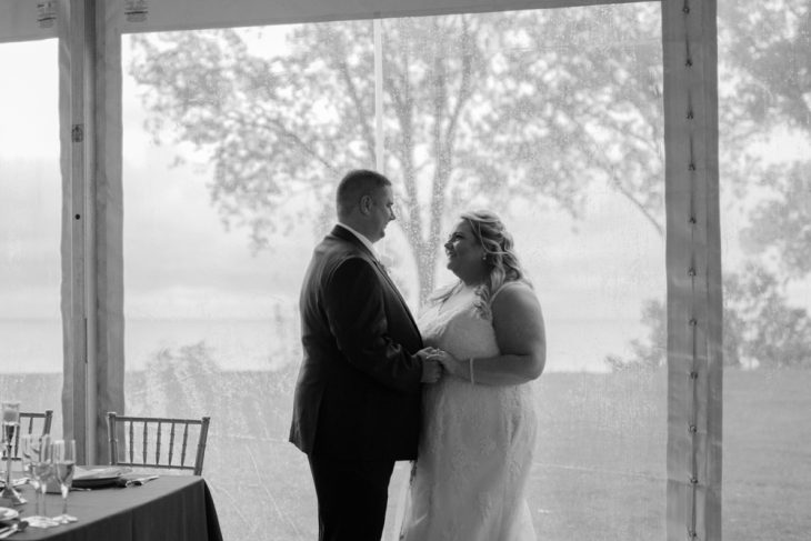 BEautiful tented wedding on Lake Erie with a view of the water