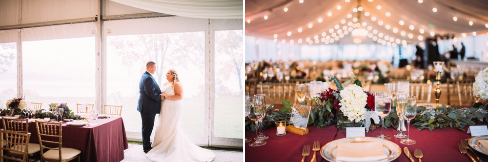 Elegant string lights at wedding