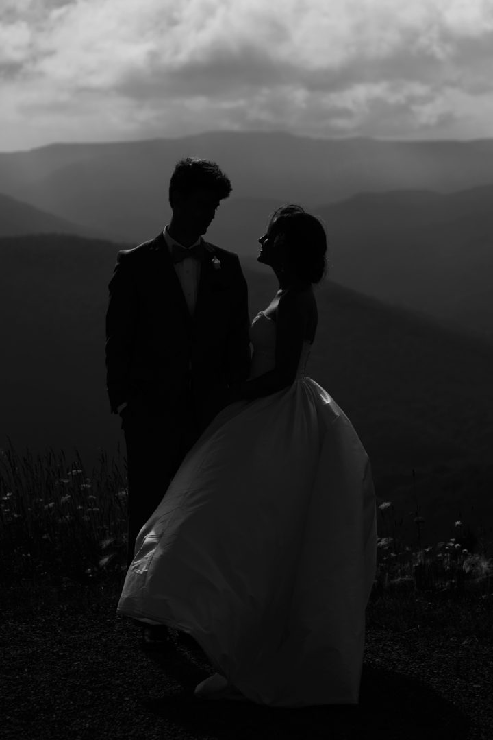 Bride and groom standing on the top of a mountain