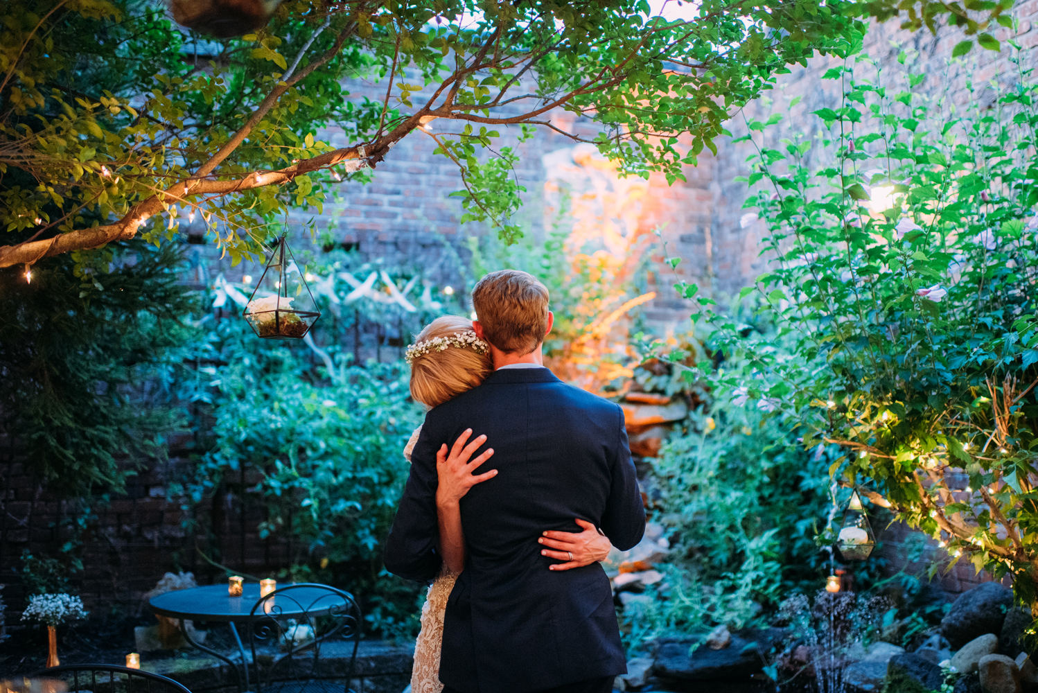 Southside pittsburgh intimate night time garden wedding reception