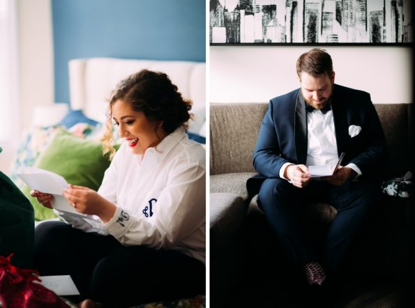 Bride and groom opening gifts