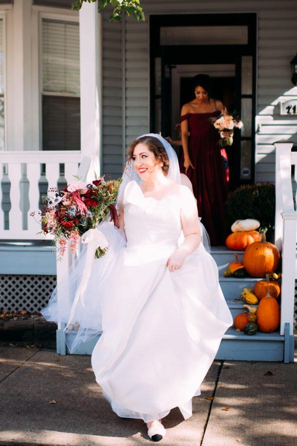 bride walking out of her front door