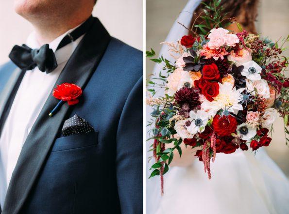 winter wedding flower details