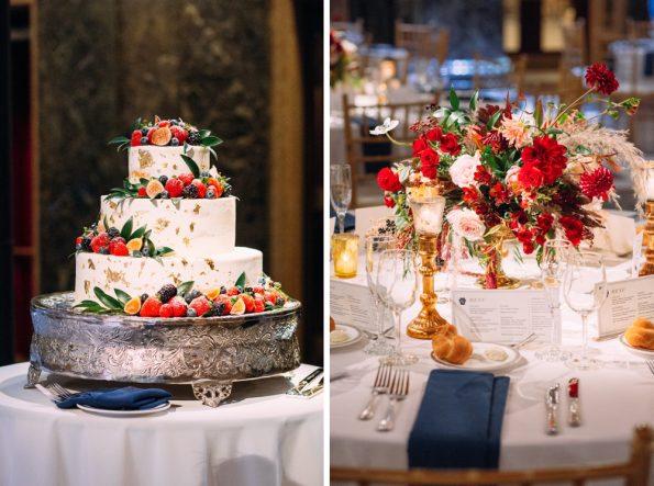 Winter wedding reception details
