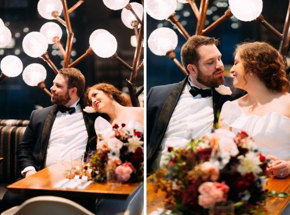 Wedding portraits with interesting lighting