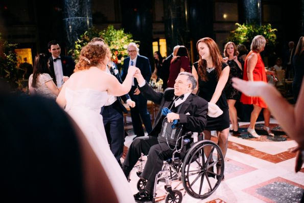 Dancing with relative on wedding day