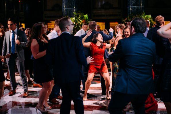 wedding guests get wild on the dance floor