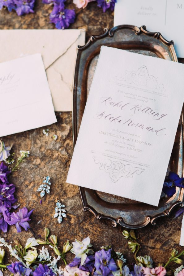 Elegant stone and antique wedding invitation inspiration